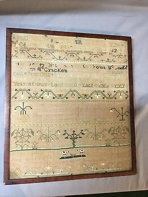 Dated 1800 Folk Art Sampler Animals Birds Unfinished