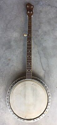 Antique 5 String Banjo for Parts or Restoration With Wood Resonator