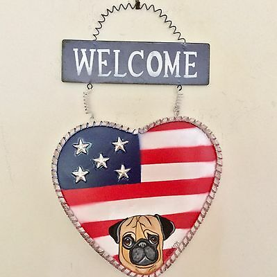 hand painted Fawn Pug Patriotic Metal  Sign 4th of July