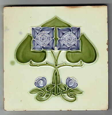 Tile With Majolica Molded Art Nouveau Design H&r Johnson Ltd Around C.1910