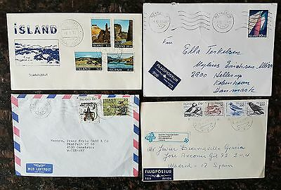 Four envelopes with Iceland stamps on 1970-1986