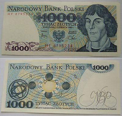 1982 - 1000 zlotych - Polish banknote - UNC new / Uncirculated