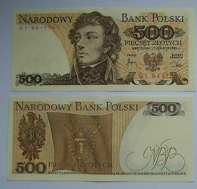 1982 - 500 zlotych - Polish banknote - UNC new / Uncirculated