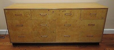 Henredon Scene Two Collection  Burled Olive Dresser Credenza Chest Of Drawers