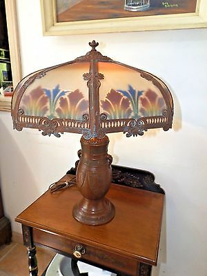 Antique early 1900's Art Nouveau Reverse Painted Stained Ribbed Glass Table Lamp