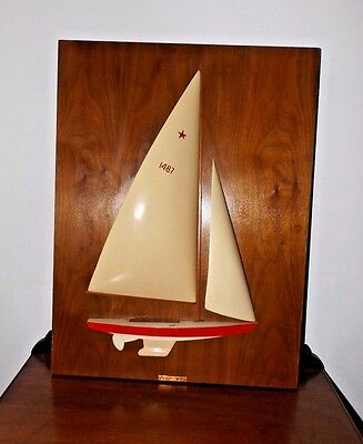 Beautiful Vintage 1960's Wooden Half Hull Wall Small Sailboat Wall Plaque