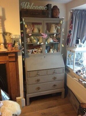 Painted Bureaux Bureau Tall Glass Display Cabinet And Drawers Writing Desk Grey