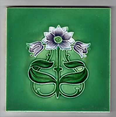 Tile With Majolica Molded Art Nouveau Design Rhodes Tile Co C.1902-1910