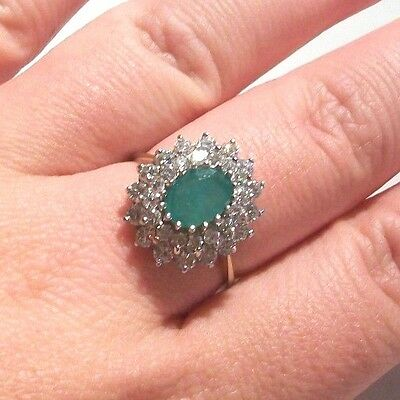 9Ct Gold Large Emerald And Paste Cluster Ring