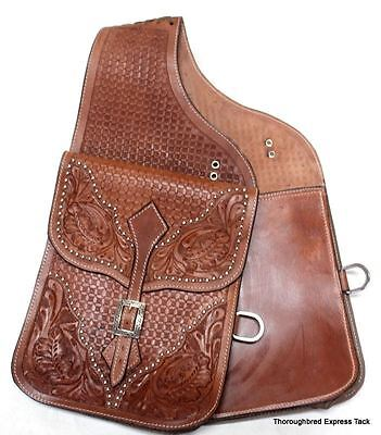 D.A. Brand Medium Oil Tooled Leather Saddle Bags w/Conchos Horse Tack Equine