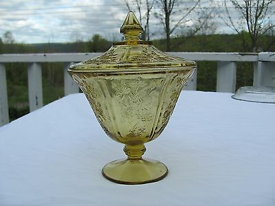 Sharon Cabbage Rose Amber Depression Glass Covered Candy Dish Very Nice