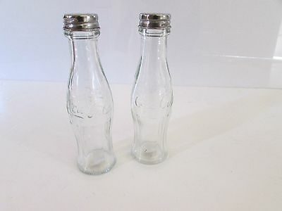 Vintage Coca cola salt and pepper shakers, Clear glass, Box, New old stock,