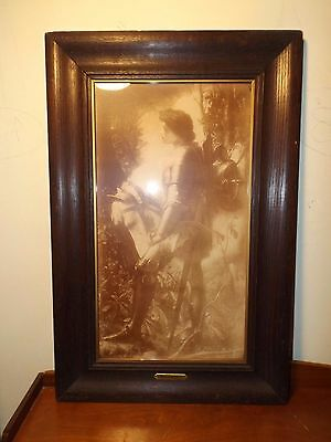 Antique Sir Galahad Sepia Print By George Fredrick Watts Orig. Oak Frame Ex Cond