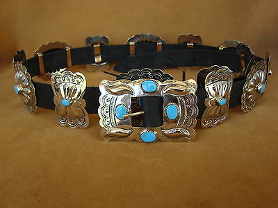 Native American Jewelry Turquoise Nickel Silver Concho Belt