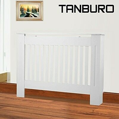 TANBURO Traditional Matte Painted Radiator Cover Cabinet Vertical Slatted White