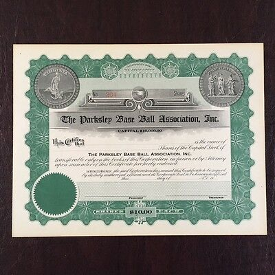 Vintage Stock Certificate Parksley Baseball Eastern Shore Minor League 1920's