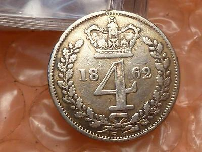 1862 Victoria  Groat 4 Pence Only This Reverse Came With Maundy Sets RARE 4,158*
