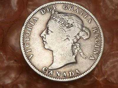Canada 1887 25 Cents Silver Coin Key Date 100,000 Fine #BB