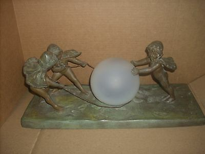 RARE 20's lamp nude children roping camphor glass globe heavy metal size 17x 7