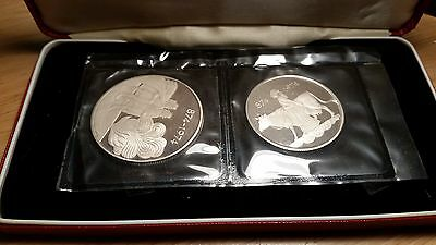 1974 Iceland Settlement 500,1000 Kronur Set of 2 Silver Coins Proof in Red Case