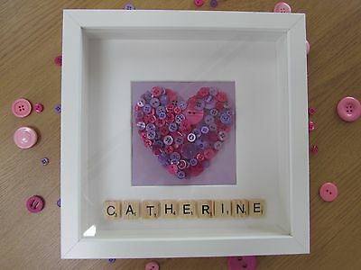 *SCRABBLE/ BUTTON ART* Personalised 3D Heart Picture Gift, Range of Colours
