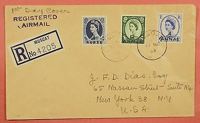 1953 Oman Overprints On Registered Cover Muscat To Usa