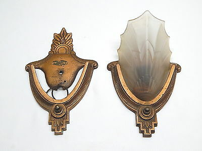 "Nice Antique Pair Art Deco ""Electrolier"" Slip Shade Sconces / One Shade only"