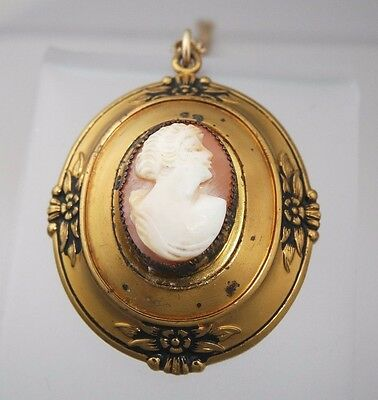Vintage Coro Shell Cameo Lady Locket/Pendant