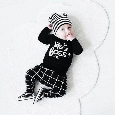 Newborn Baby Boy Infant 2PCS Set Long Sleeve Tops Pant Overall Outfit 6-12 Month