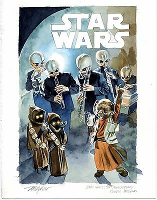"""Mike Mayhew Original STAR WARS: ROGUE ONE #1 """"40th Anny"""" Cover Painted Prelim"""
