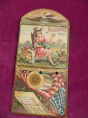 Merricks Thread Victorian 1888 Machine Thread Sample Card Girl Eagle Flag