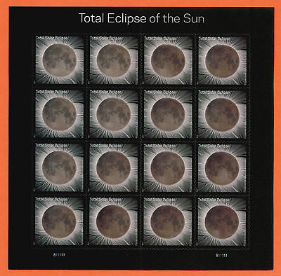 US Total Eclipse of the Sun Stamp, a Full pane of 16 + Protective Sleeve ~ 2017