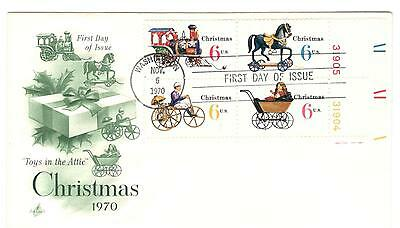USA fdc x 1 Scott 1415-18 Christmas lower right plate block 1970 USA stamps