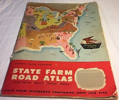 Vintage 1956 ROAD ATLAS STATE FARM INSURANCE COLLECTIBLE MAP USA