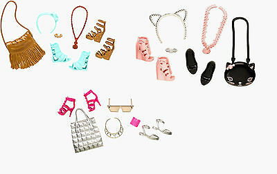 2015 Fashionistas Barbie Doll 3 Accessory Pack Lot Flat Shoes Cat Purse Necklace
