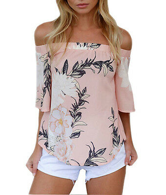 Fashion Women Off Shoulder Casual Short Sleeve Polyester Floral T-Shirt Blouse