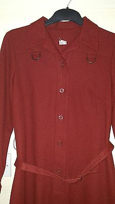 Ladies Vintage Rust Mod Dagger Collar Button down Belted Dress size 12-14