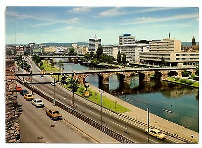 Landeshauptstadt Saarbrucken Postcard State Capital Old Bridge Cars River