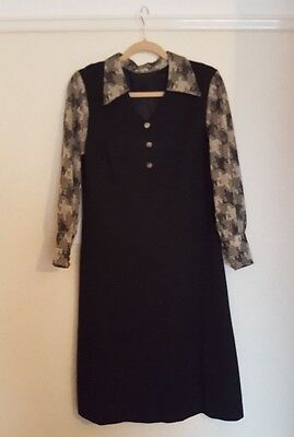 Ladies Vintage Black Dog ToothGold Shimmer Dagger Collar dress size 14
