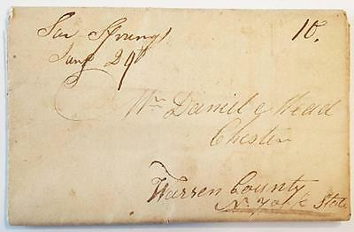 1818 Saratoga Springs NY Stampless Letter / Cover Philander Sophia Mead ********