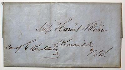 1844 NY Stampless Letter Alfred Baker to Daughter Harriet Keeseville NY ***