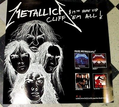 "Metallica Cliff Em All Video 24"" X 24"" Promo Poster Original Us Rare 1987"
