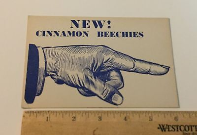 Vintage 1950's Beechies Cinnamon Finger Gum Store Shelf Talker Sign Original