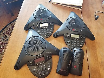 Lot of 3 Polycom 16000 conference phones with 2 power supplies