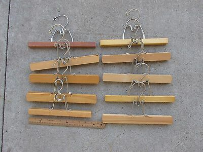 """Lot of 10 Vintage Wood Trouser Pant Skirt Clamp Clothes Hangers - Good 10 - 11"""""""