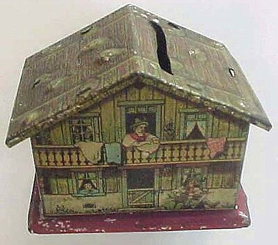 Tin Litho Swiss Cottagre Coin Bank
