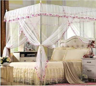 White Flowers 4 Corner Post Princess Bed Canopy Mosquito Netting Twin Size