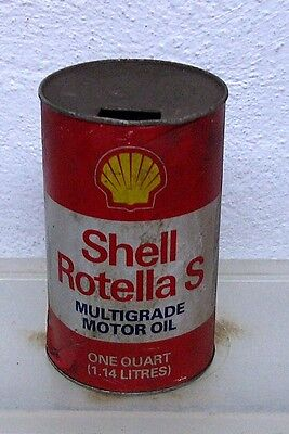 Vintage Shell Rotella S motor oil tin can imperial quart garage display