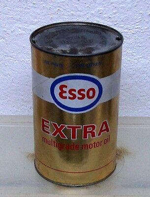 Vintage Esso Extra motor oil tin can imperial quart garage display