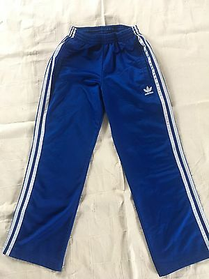 ADIDAS Kid Youth Boys Girls Blue Trefoil Track Pants S Small Vtg